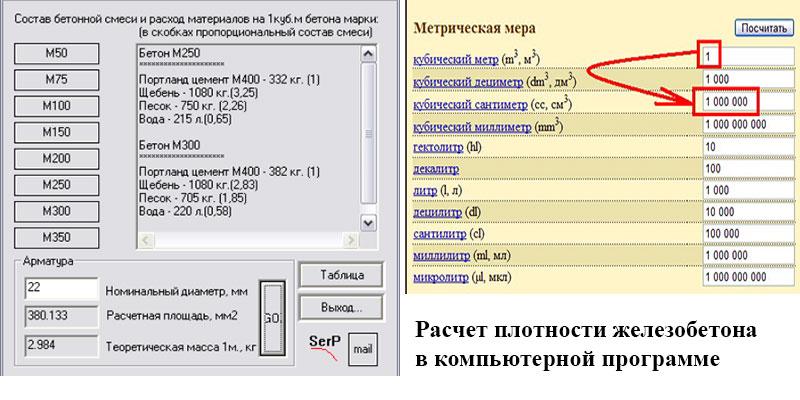 объемный вес железобетона 1 м3